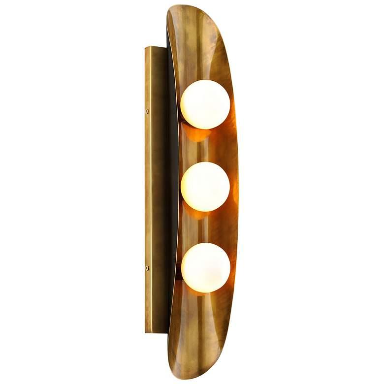 "Corbett Hopper 24"" High Vintage Brass 3-Light Wall Sconce"