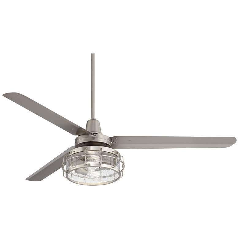 "60"" Turbina DC Brushed Nickel Seedy Glass LED Ceiling Fan"