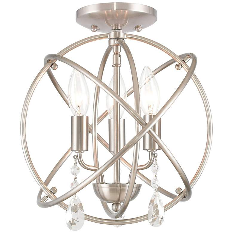 """Aria 12""""W Brushed Nickel 3-Light Convertible Ceiling Light"""