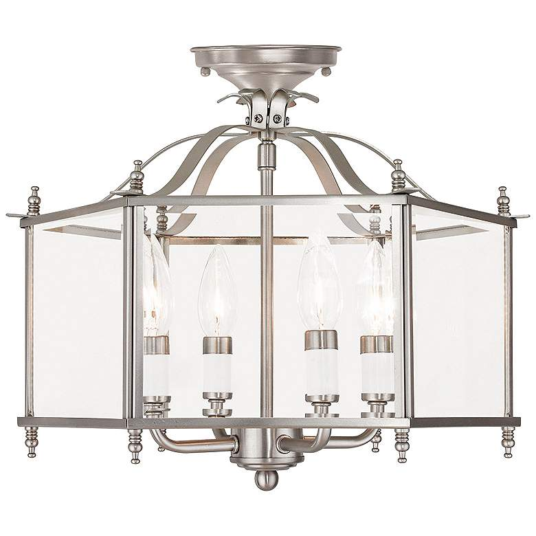 """Livingston 15 1/2""""W Brushed Nickel Convertible Ceiling Light"""