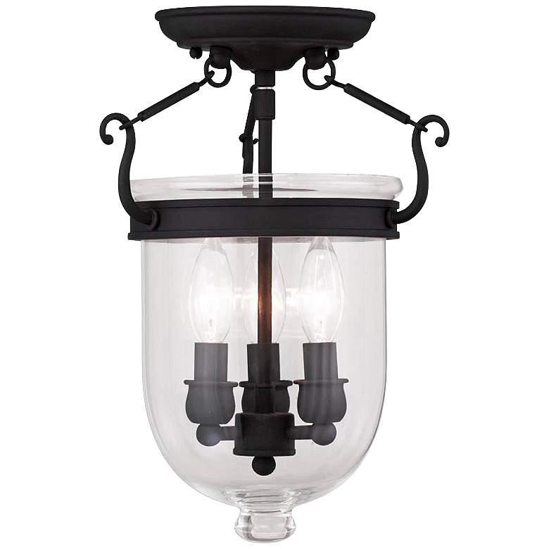 "Jefferson 10"" Wide Black 3-Light Bell Jar Ceiling Light"
