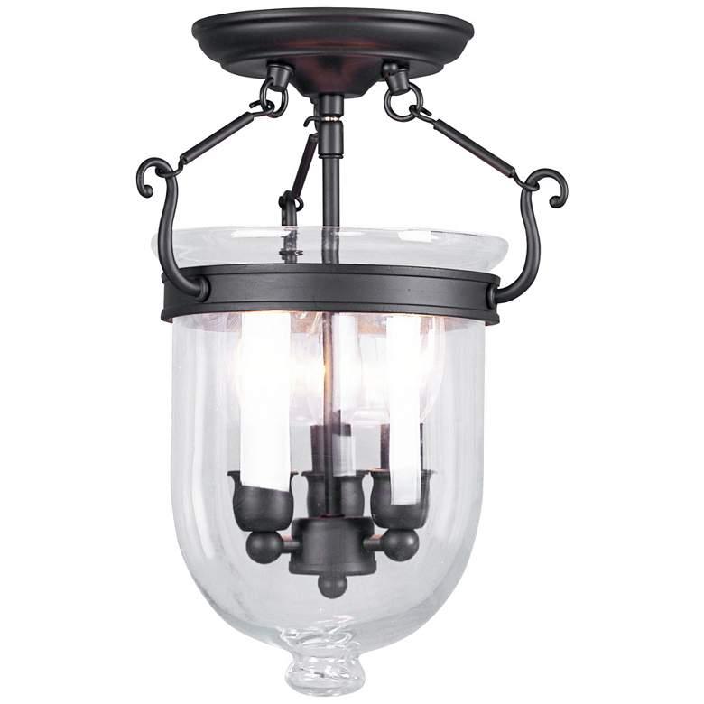 """Jefferson 10"""" Wide Bronze 3-Light Bell Jar Ceiling Light"""