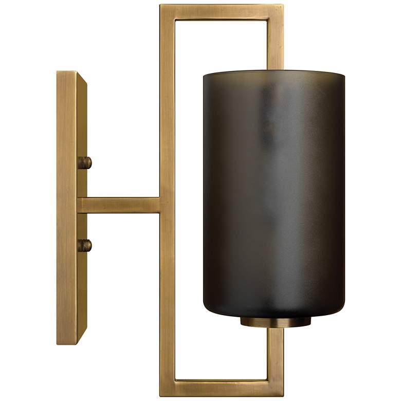 """Blueprint 13"""" High Antique Brass w/ Gray Glass Wall Sconce"""