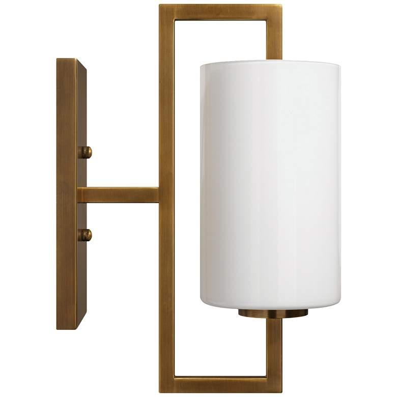"Blueprint 13"" High Antique Brass w/ White Glass Wall Sconce"