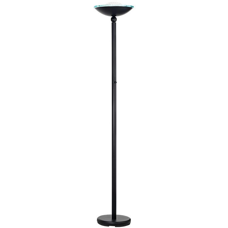 Halogen 150-Watt Contemporary Black Torchiere Floor Lamp