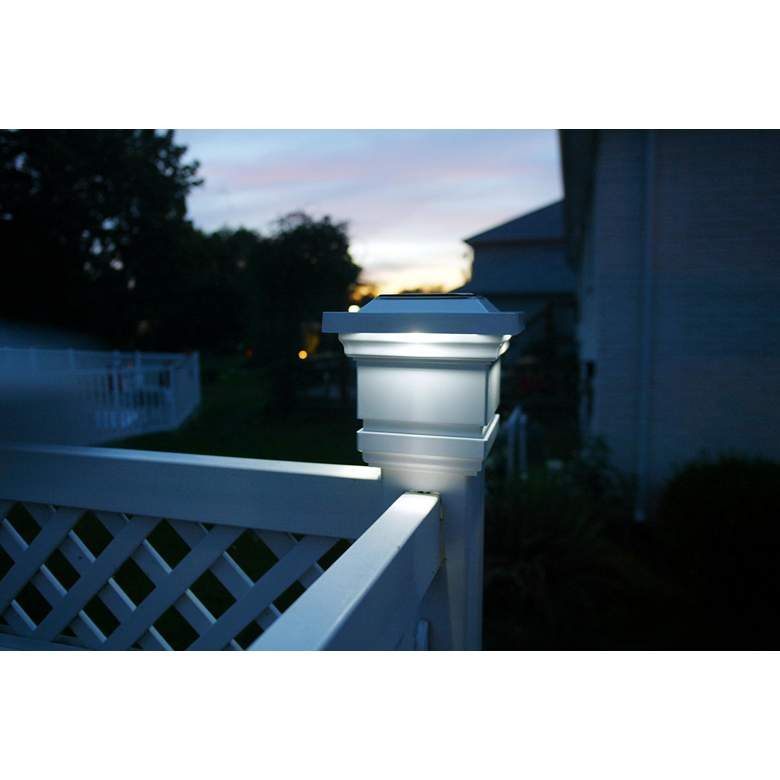 "Classy 6 1/2"" High White Outdoor Solar LED Post Cap"