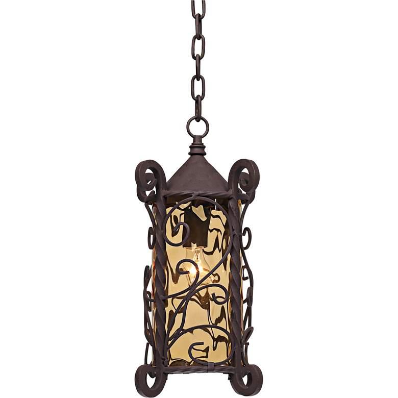 "Casa Seville 15"" High Walnut Scroll Outdoor Hanging Light"