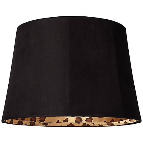 Black Faux Suede Leopard Print Shade 13x16x11 (Spider)