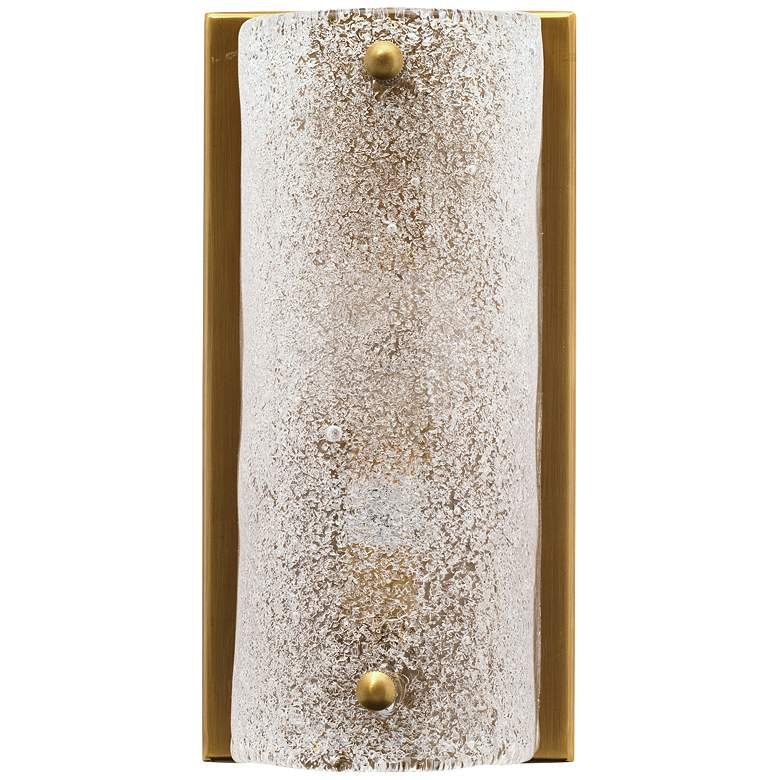 """Moet 8 1/4"""" High Antique Brass Rounded Glass Wall Sconce"""