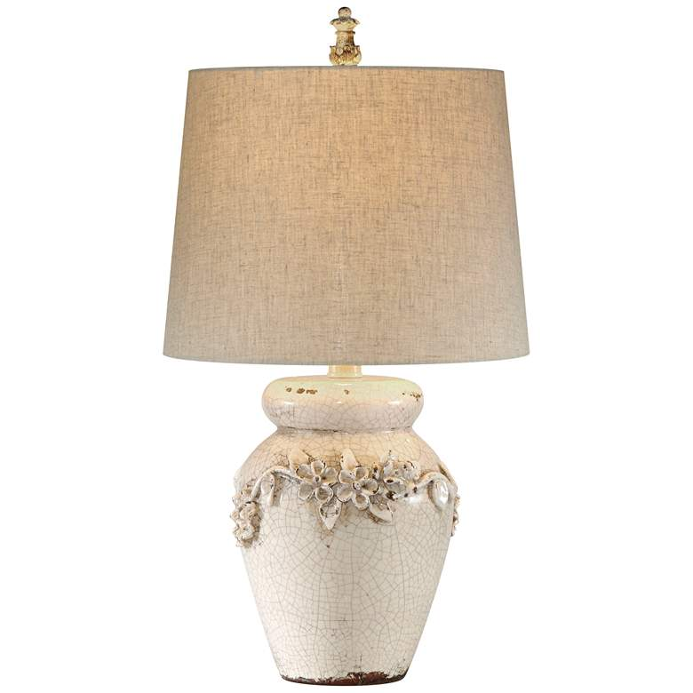 Old World Eleanore Crackled Ivory Ceramic Jar LED Table Lamp