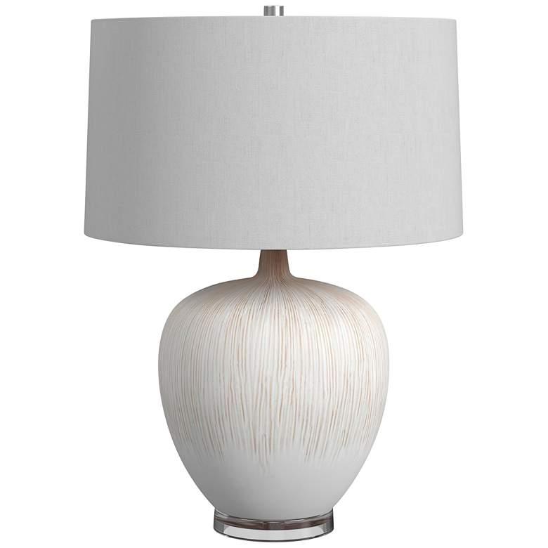 Arcadia Beige Grooved Ceramic Vase LED Table Lamp