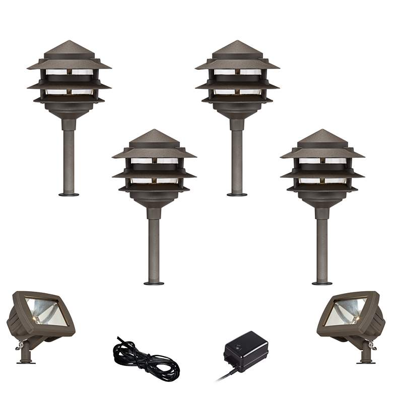 Pagoda Bronze 8-Piece LED Landscape Path and Flood Light Set