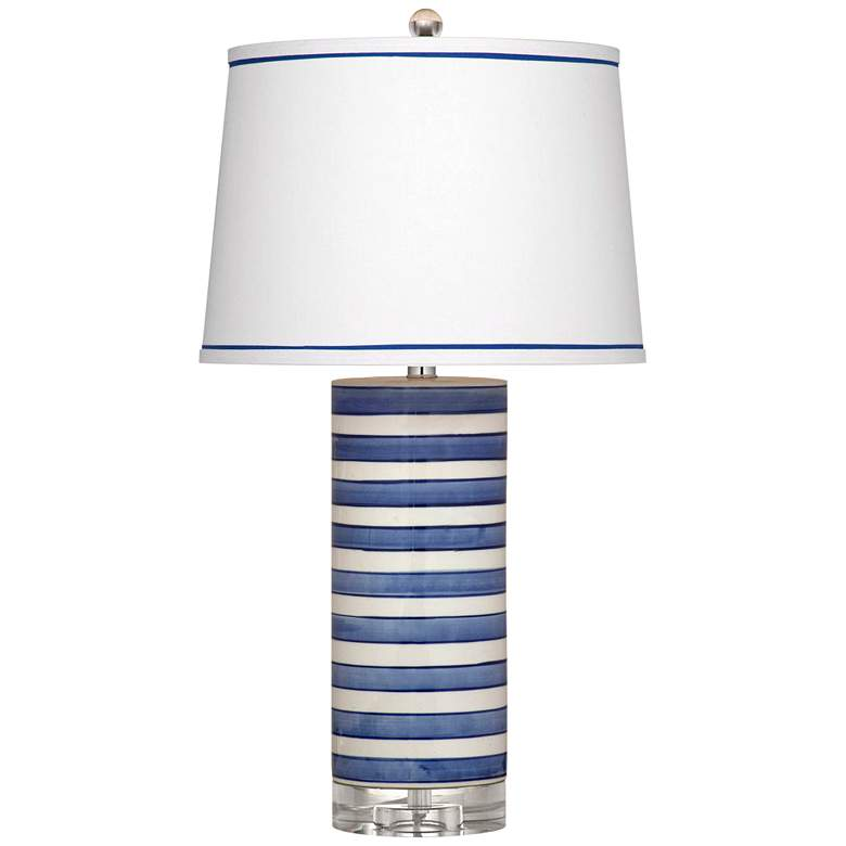 Regatta Stripe Blue and White Cylindrical LED Table Lamp