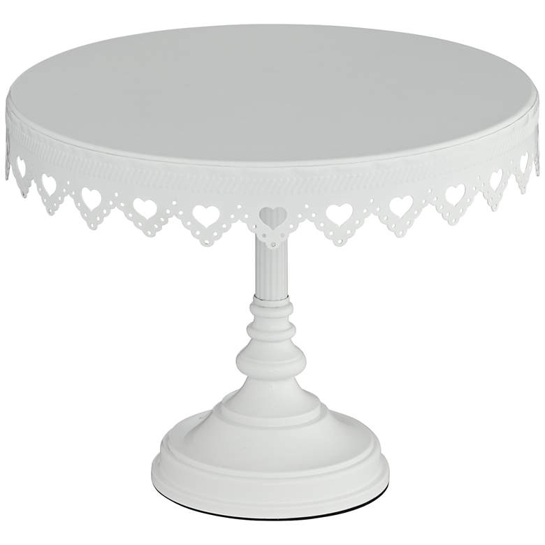 "La-Romain White 10"" Round Single Tier Cake Stand"