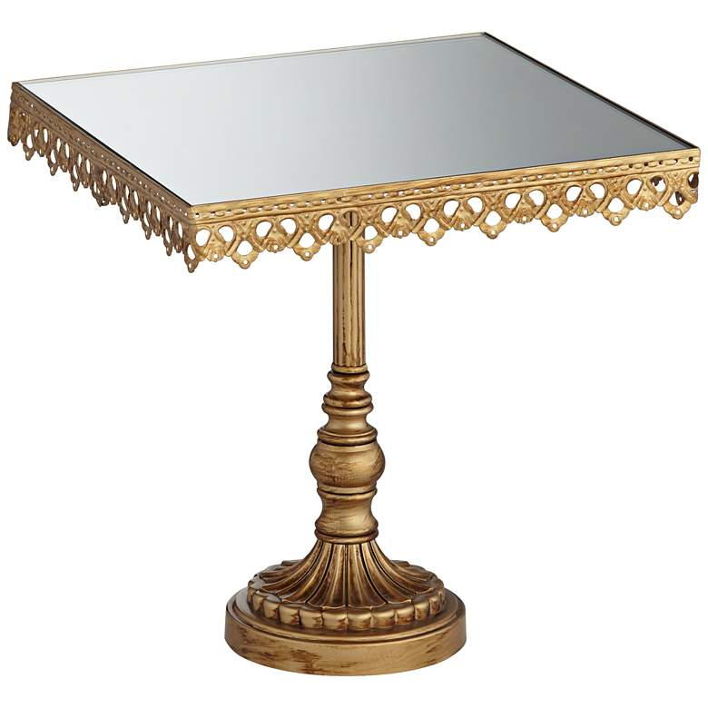 "Elisa Antique Gold Mirror-Top 8"" Square Cake Stand"