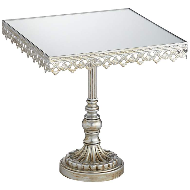 "Elisa Antique Silver Mirror-Top 8"" Square Cake Stand"