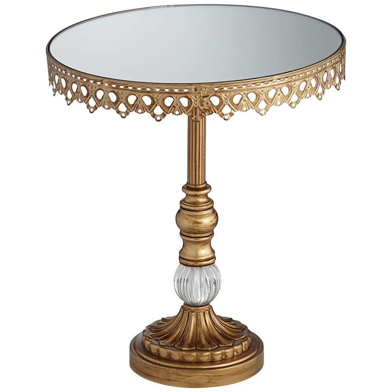"""Antique Gold Mirror Top 12""""H Cake Stand"""