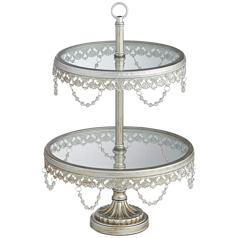 """Jenny Silver 17"""" High 2-Tier Cake or Cupcake Stand"""