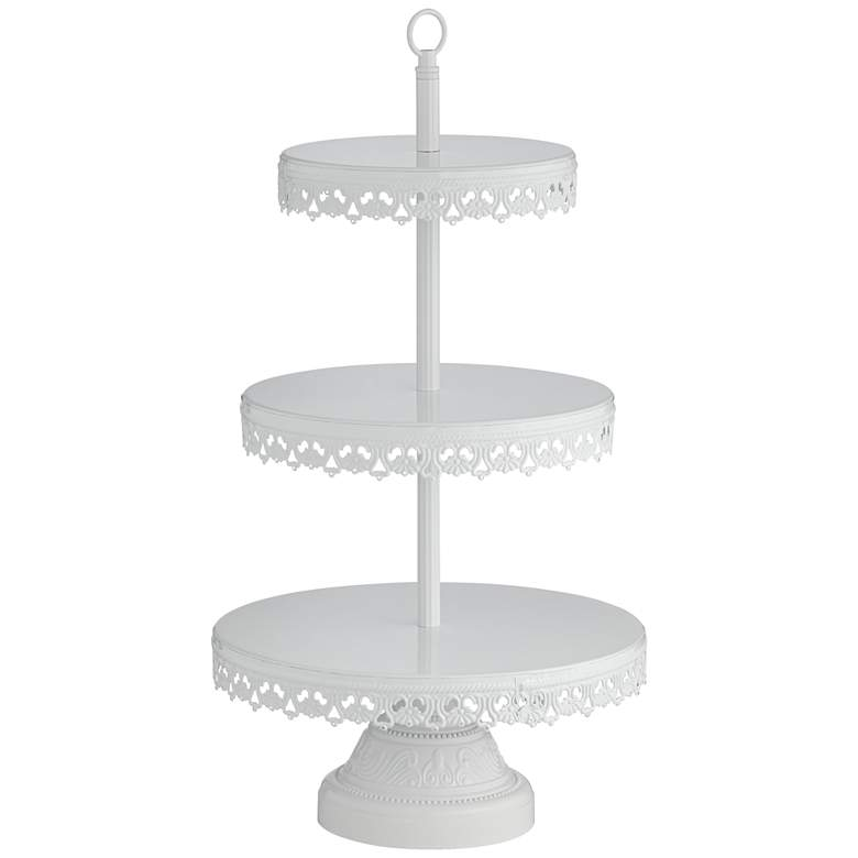 """La-Romain White 19""""H 3-Tier Cookie or Cup-Cake Stand"""