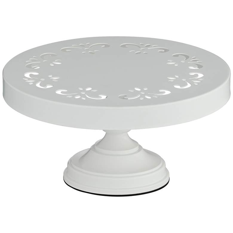 "York White 10"" Round Single Tier Cake Stand"