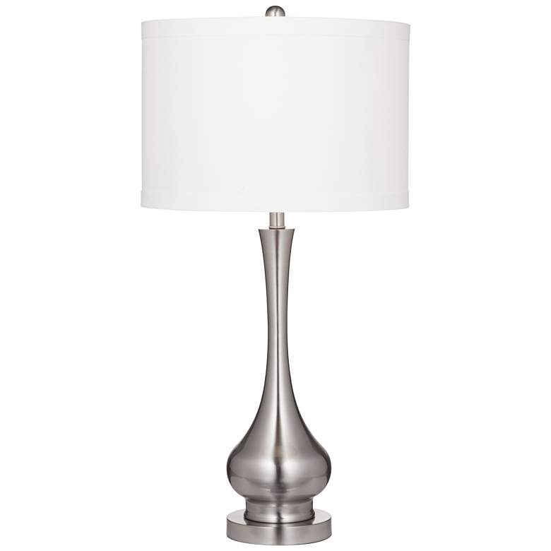 Suzanna Brushed Silver Metal LED Table Lamp