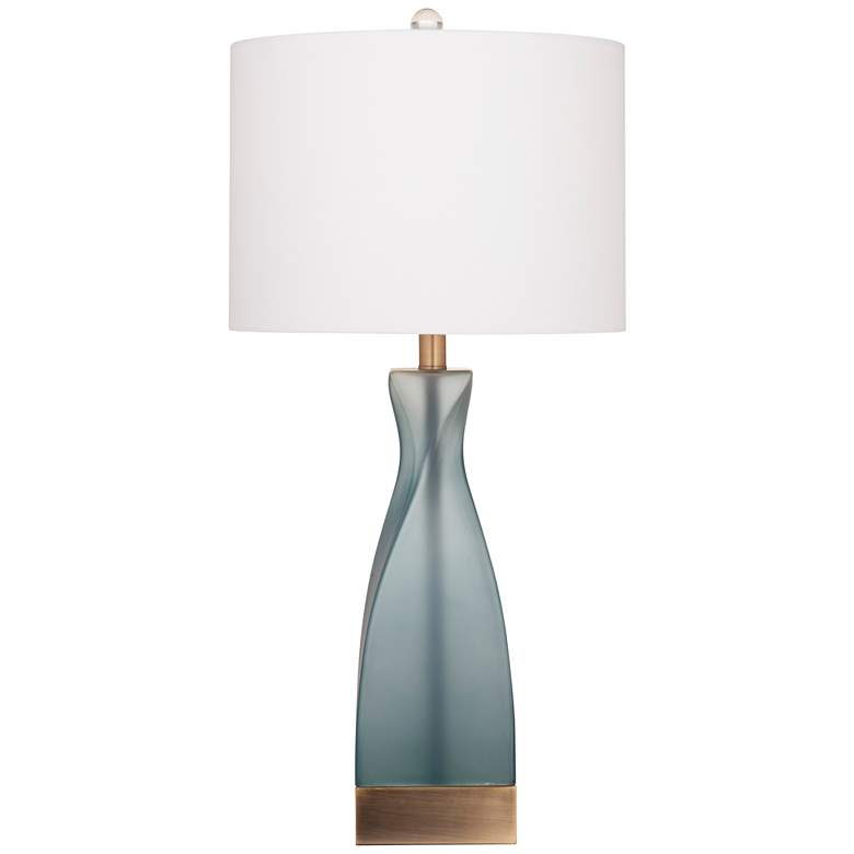 Anthea Frosted Blue Glass with Antique Bronze LED Table Lamp