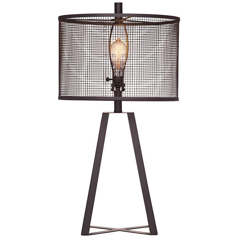 Bridwell Black Iron Cut Out Metal Shade LED Table Lamp