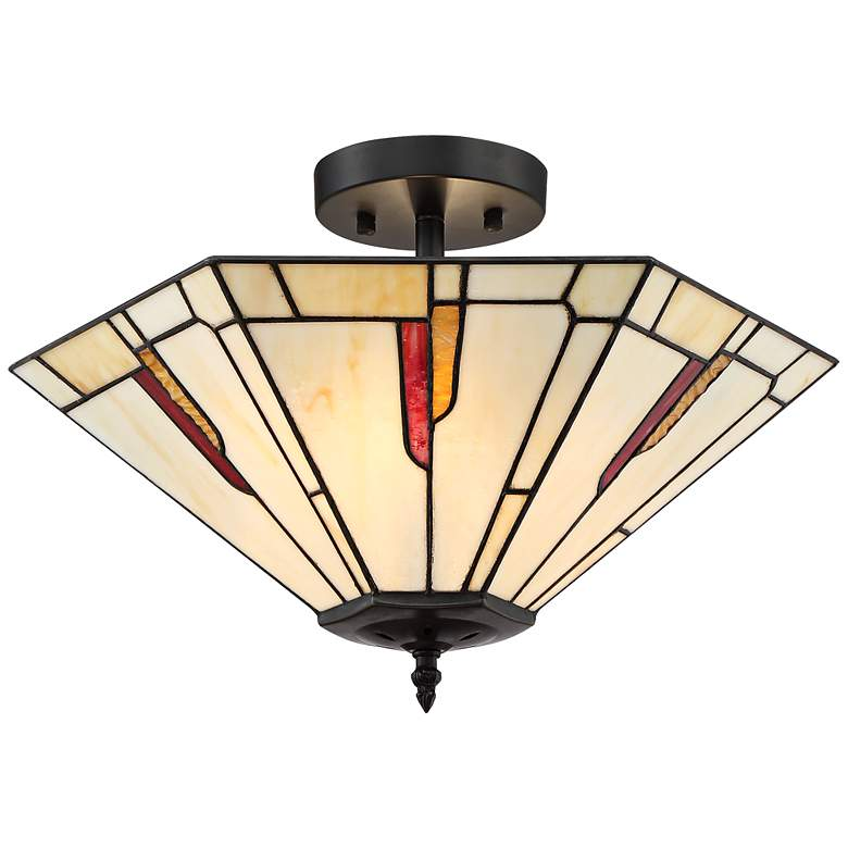 """Crowley 18"""" Wide Bronze Tiffany Style Ceiling Light"""