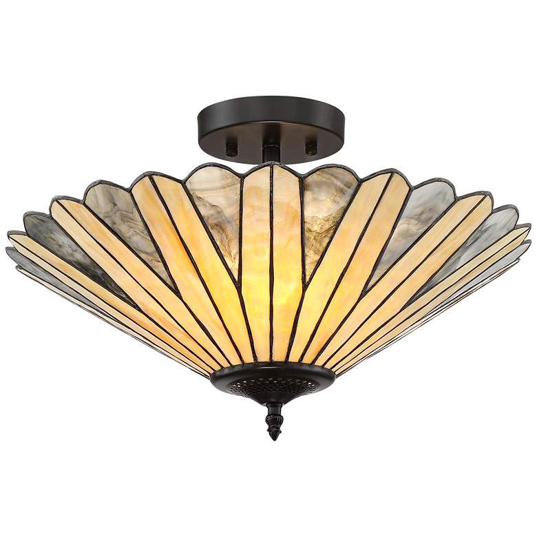 "Petals 18"" Wide Bronze Tiffany Style Ceiling Light"