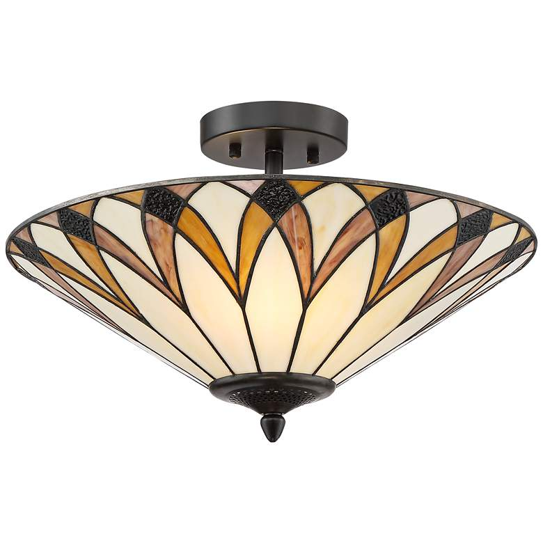 """Filton 18"""" Wide Yellow Tiffany Style Ceiling Light"""