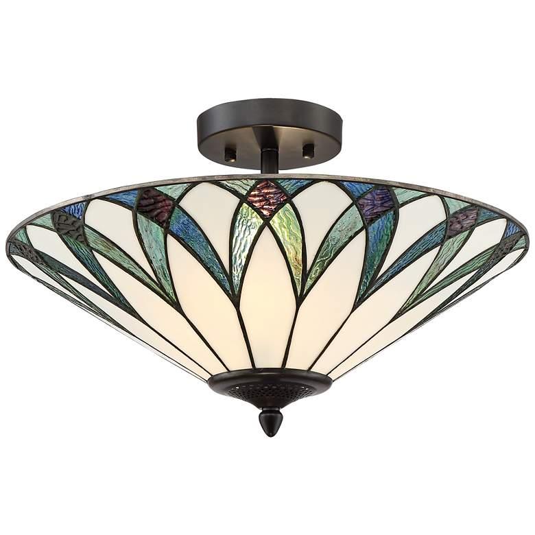 "Filton 18"" Wide Blue Tiffany Style Ceiling Light"
