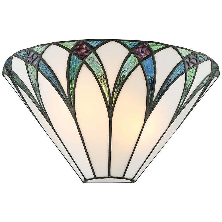 "Filton 6"" High Blue Tiffany-Style Wall Sconce"