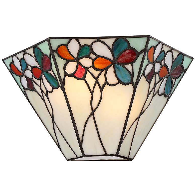 "Bouquet 6 1/2"" High Bronze Tiffany-Style Wall Sconce"
