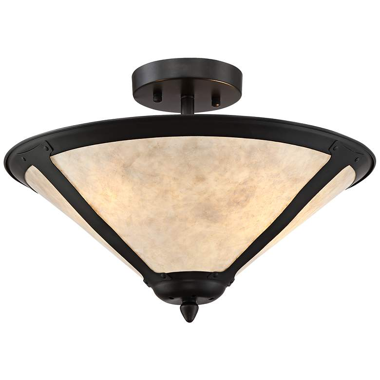 """Leiston 17"""" Wide Natural Mica Shade Ceiling Light"""