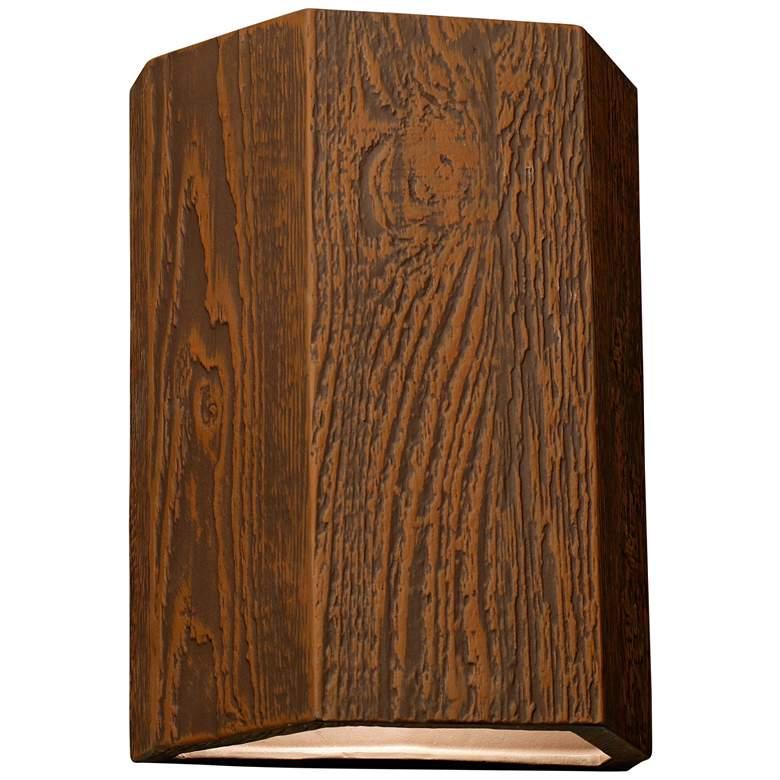 "Oakheart 13"" High Bark Ceramic 3-Sided Outdoor Wall Light"