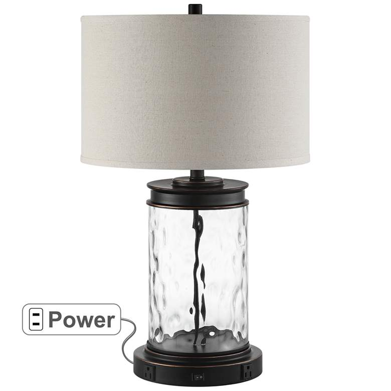Weber Bronze and Water Glass Table Lamp with Outlets