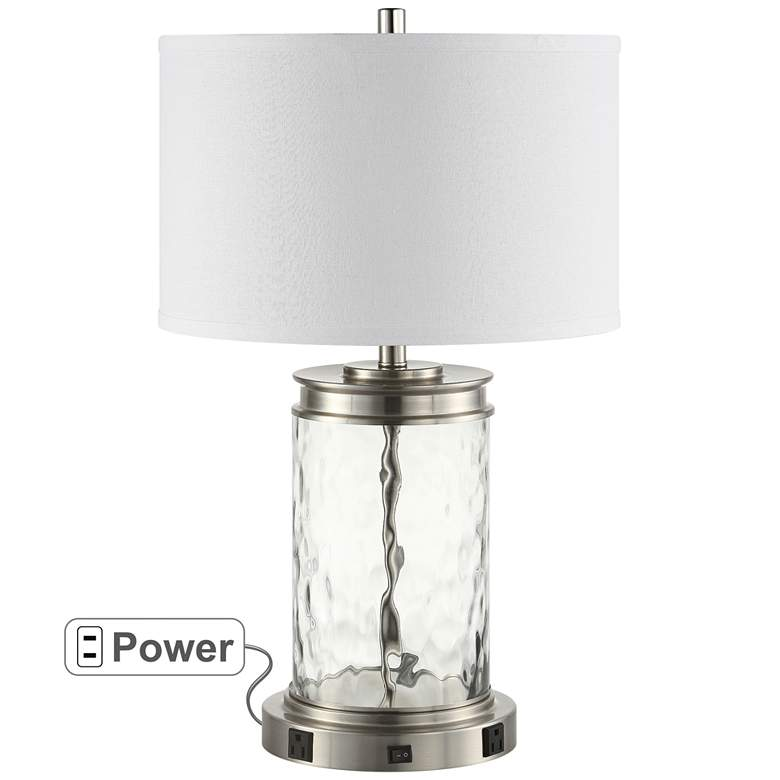 Weber Brushed Nickel and Water Glass Table Lamp with Outlets