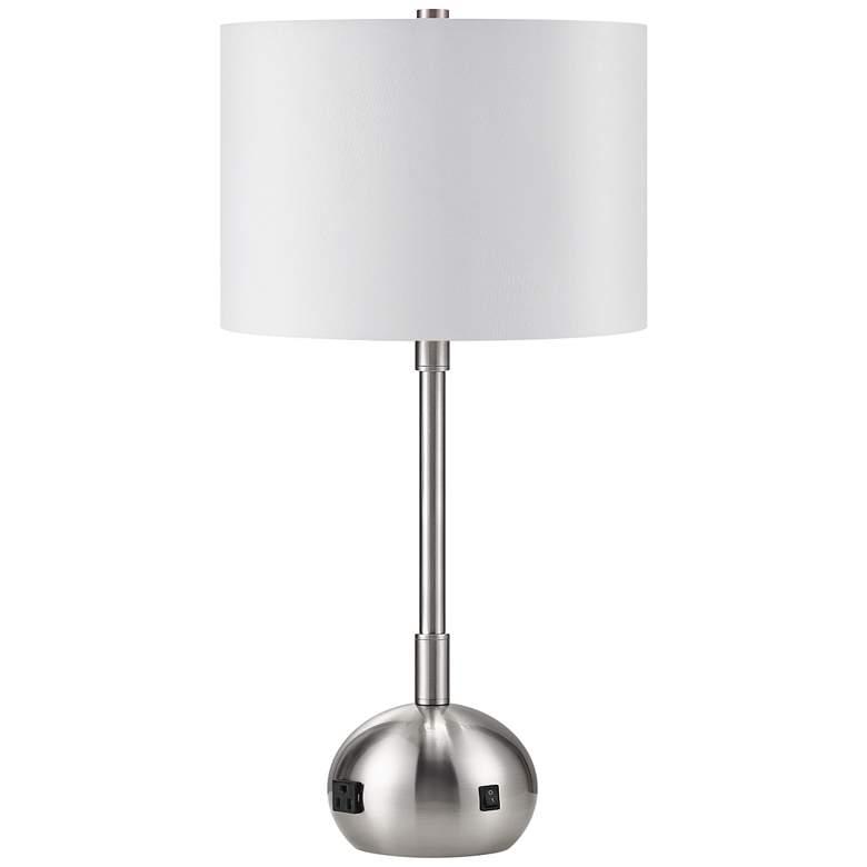 Lola Brushed Nickel Table Lamp with Base Utility Plug