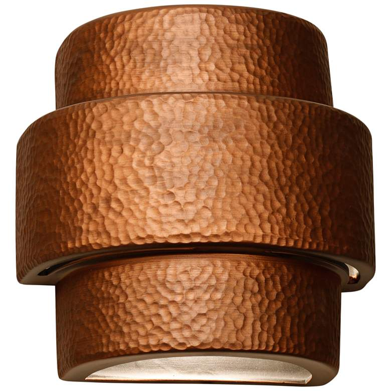 "Hammerman 10"" High Rubbed Copper Banded Outdoor Wall Light"