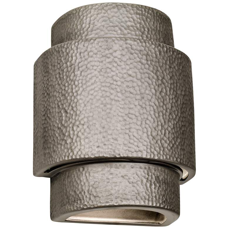 """Hammerman 13 1/2""""H Rubbed Pewter Ceramic Outdoor Wall Light"""