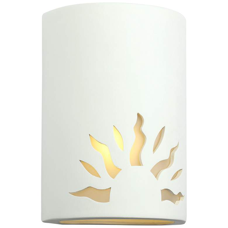 "Asavva 10 1/2"" High Paintable Bisque Sun Outdoor Wall Light"