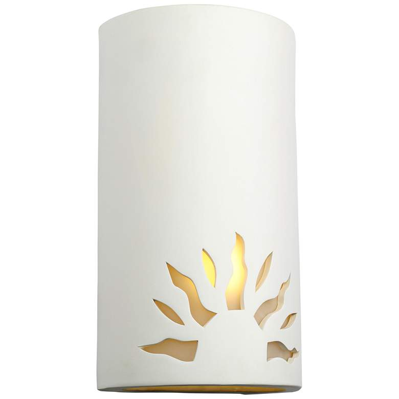 "Asavva 13""H Paintable White Bisque Sun Outdoor Wall Light"