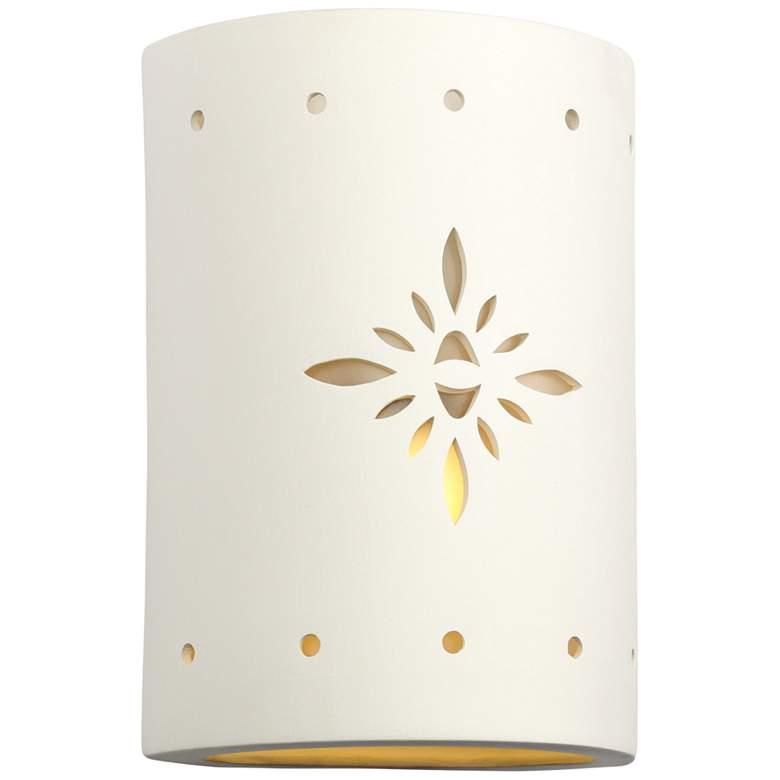 """Asavva 10 1/2""""H White Bisque Starburst Outdoor Wall Light"""