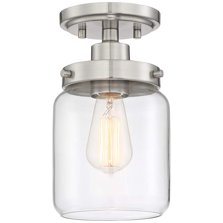 """Devonshire 6"""" Wide Brushed Nickel and Glass Ceiling Light"""