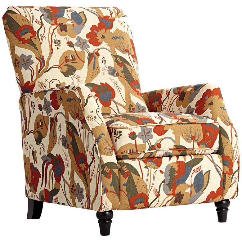 Katy Floral Ivory Push Back Recliner Chair