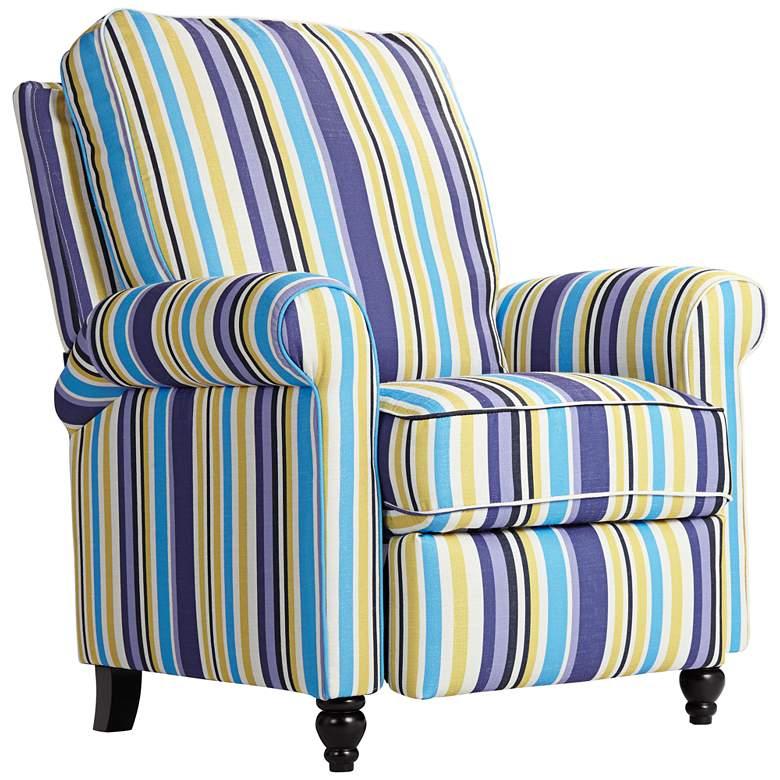 Tori Indigo Stripe Push Back Recliner Chair