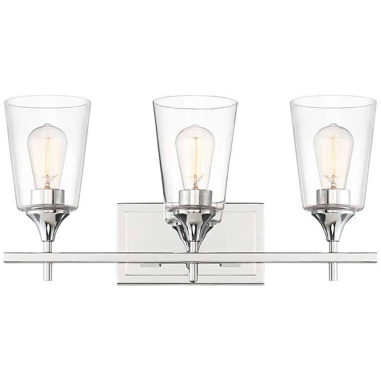 """Karan 22"""" Wide Chrome and Pint Glass 3-Light Bath Light"""