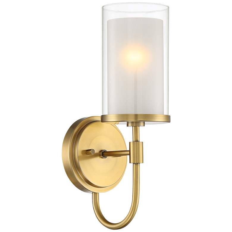 """Lesley 15"""" High Double Glass Antique Brass Wall Sconce"""