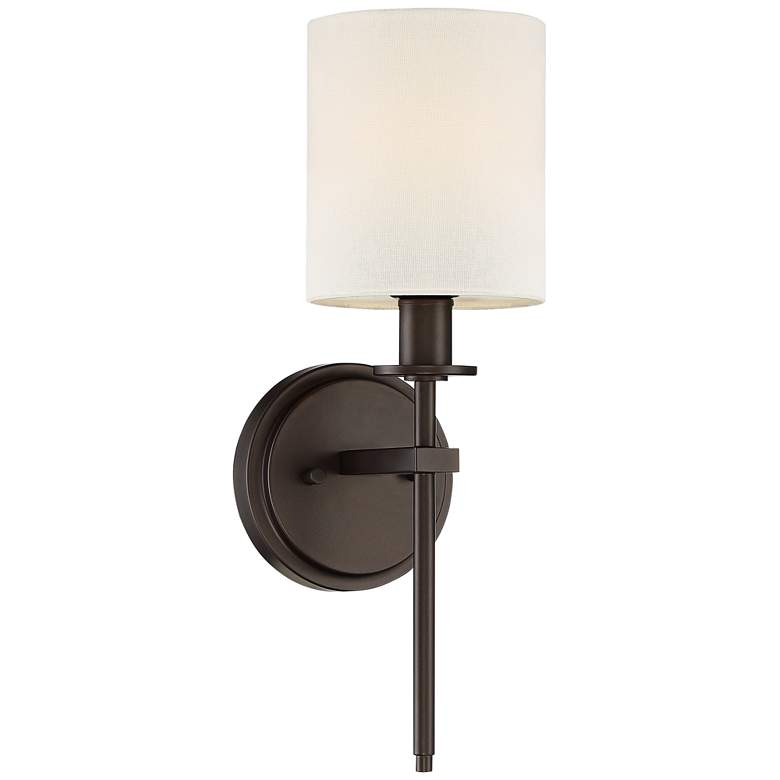 "Ikra 17"" High Bronze and Linen Wall Sconce"