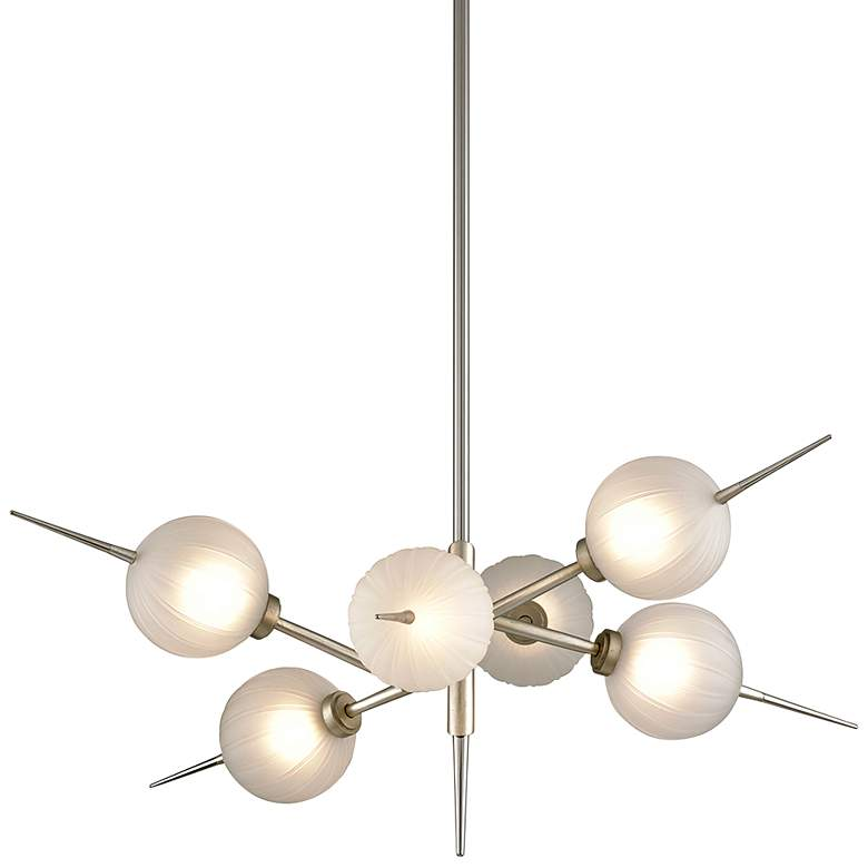 """Tempest 35"""" Wide Satin Silver Leaf 6-Light LED Chandelier"""